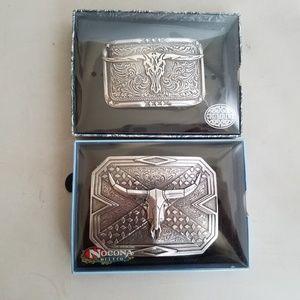 2 Steer Skull Head Belt Buckles Metal Silver New
